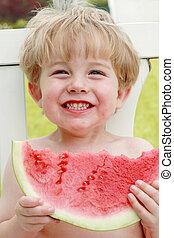 szelet, görögdinnye, boldogság