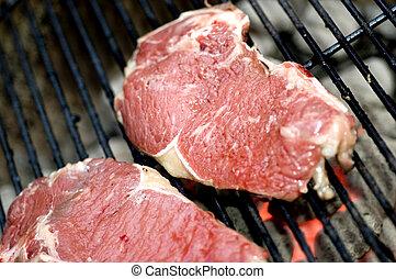 szelet, grill, héj, híg, marhaszeletek