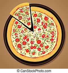 szelet, kerek, pizza