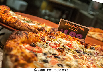 szelet, pizza, hajlandó, legfőbb, hús, művek, eszik