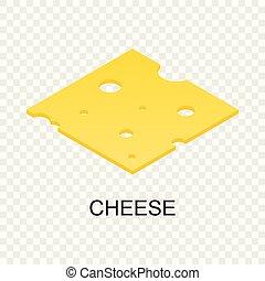 szelet sajt, ikon, isometric, mód