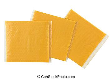szelet, smokey, csomag, elszigetelt, szelet, egyedülálló, sajt, csomagolt, fehér, kerti-parti, feldolgozott