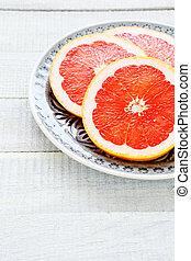 szelet, tányér, ??grapefruit
