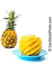 szelet, tányér, lehámlik, ananász