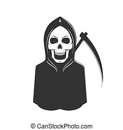 szellem, csontváz, halál, cégtábla., kaszál, rossz, horror