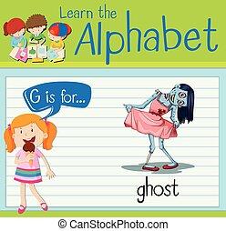 szellem, flashcard, levél g