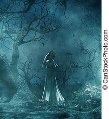 szellem, menyasszony, erdő, hátborzongató