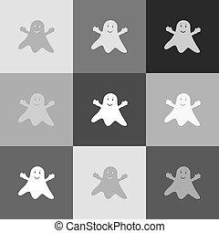 szellem, popart-style, cégtábla., grayscale, változat, vector., icon.
