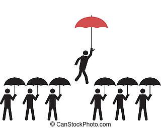 személy, esernyő, piros, szemelt