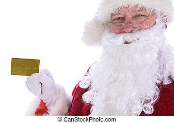 személyes, övé, gold kártya, lengyel, closeup, white., klaus, birtok, noth, hitel, elszigetelt, szent
