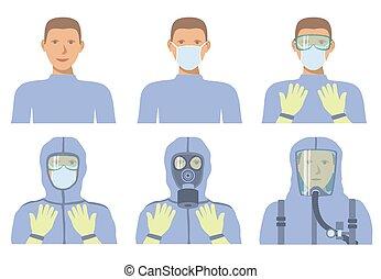 személyes, felszerelés, threats., ellen, oltalmazó, protection., kiegyenlít, különböző, biokémiai