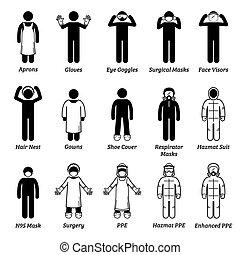személyes healthcare, orvosi, cliparts., felszerelés, ppe, oltalom, fogaskerék-áttétel