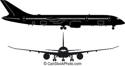 személyszállító hajó, álmodik, boeing-787, árnykép