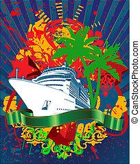 személyszállító hajó, óceán, loccsanás, zöld, cirkálás, transzparens