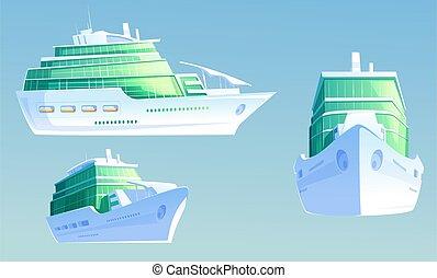 személyszállító hajó, fényűzés, szünidő utazik, nyár, cirkálás