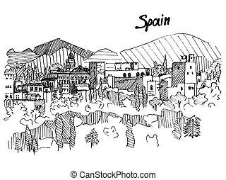 személyszállító hajó, hegy, skicc, spanyolország, vektor, bástya