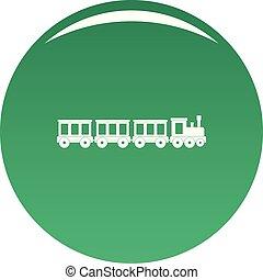 személyszállító vonat, vektor, zöld, ikon