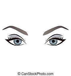 szemöldök, szemek, gyakorlatias, vektor, női, karikatúra