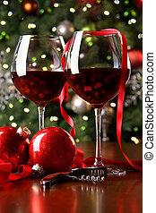szemüveg, ünnep, piros háttér, bor