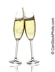 szemüveg, bor, szikrázó, két, csengő