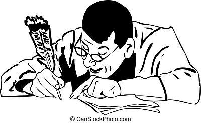 szemüveg, ember, akol, madártoll, írja