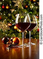 szemüveg, fa, bor, karácsony, asztal, piros
