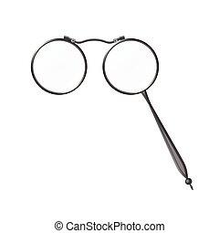 szemüveg, szüret, modern, -, szürke, cél, elszigetelt, gyakorlatias, vektor, ábra, lorgnette