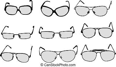 szemüveg, szemüveg, vektor