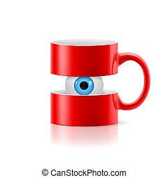 szem, belső, két, bögre, alkatrészek, piros