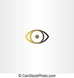 szem, egyenes, vektor, tervezés, ikon