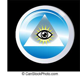 szem, isten, oltalom, háromszög
