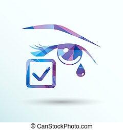 szem, jelkép, elszigetelt, ábra, aláír, gond, vektor, ikon