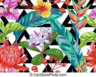 szem, motívum, zöld, flowers., seamless, tropikus, sokszínű, thaiföld, detektívek