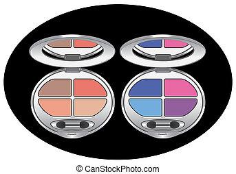 szem, többszínű, shadows