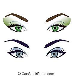 szemek, állhatatos, gyakorlatias, vektor, női, homlok, karikatúra