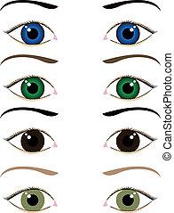 szemek, állhatatos, karikatúra