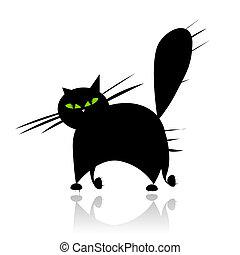 szemek, árnykép, nagy macska, fekete, zöld