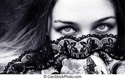szemek, nő, mögött, rajongó, csábító, érzéki