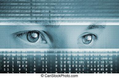 szemek, számítógép, háttér, csúcstechnológia, technológia, bemutatás