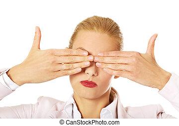 szemek, woman ügy, neki, nem, fedő, rossz, elkísér, fogalom, hands.