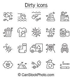 szennyezés, egyenes, mód, állhatatos, híg, ikon
