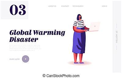 szennyezés, vizsgál, probléma, lakás, oldal, hír, háló, nő, természet, laptop, karikatúra, vektor, globális, környezet, banner., világ-, helyzet, felolvasás, ábra, page., website, leszállás, melegítés