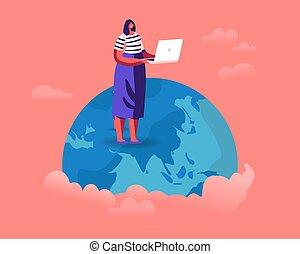 szennyezés, vizsgál, törődik, lakás, önként felajánl, hír, földgolyó, nő, természet, laptop, karikatúra, melegítés, vektor, környezet, világ-, helyzet, földdel feltölt, felolvasás, ábra, problems., áll, globális