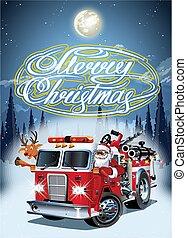 szent, firetruck, karácsony, klaus, karikatúra, retro, poszter
