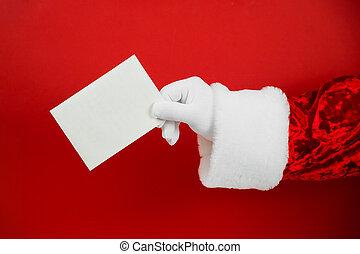szent, kéz, klaus, aláír, üres, tiszta, hatalom, karácsony, card., gúnyol
