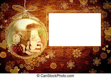 szent, váz, karácsonyi üdvözlőlap