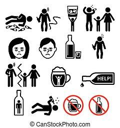 szenvedély, részeg, alkohol, ember, ikonok, alkoholizmus