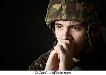 szenvedés, egyenruha, katona, erő