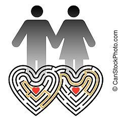 szerelmes pár, útvesztő