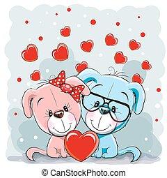 szerelmes pár, kutyák